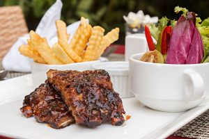 Pork Rib, Salad and French Fries
